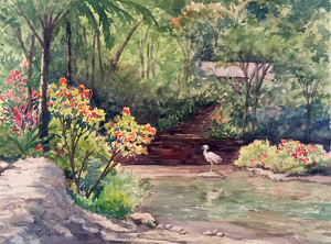 watercolor of egret and tropics