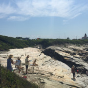 photo of plein air painting class at Beavertail Light, RI