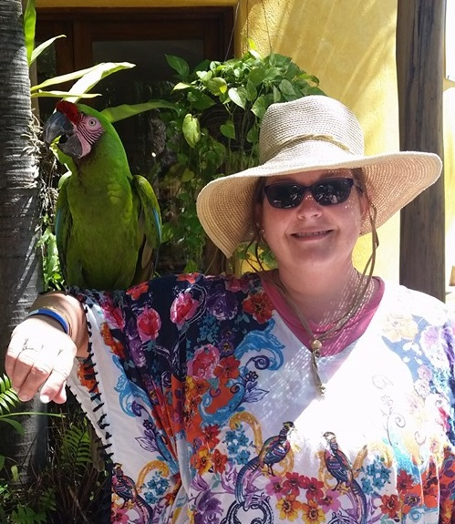 Spirit Retreat Puerto Vallarta 2016 Kristi Johnston holds the bird at dolphin adventures