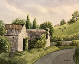 Watercolor of cottages in Ireland Kristi Johnston
