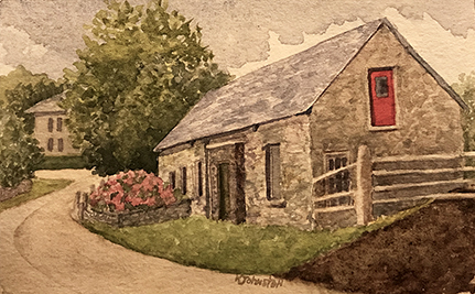 watercolor painting of a stone building with red and green doors and a pink hydrangea