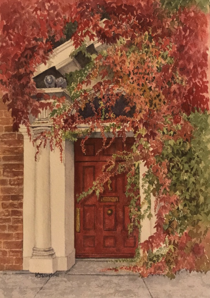 watercolor image of red door with red and green ivy by Kristi Johnston