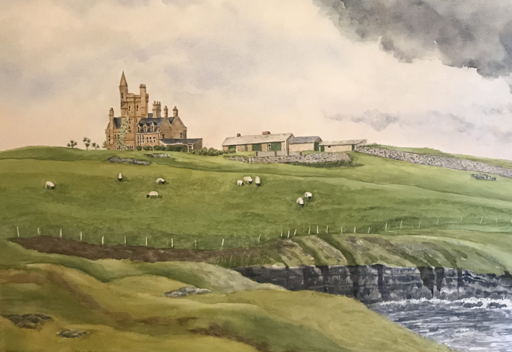 watercolor of Castle Mullaghmore in County Sligo Ireland-by Kristi Johnston