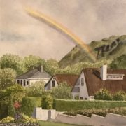 watercolor of rainbow over county sligo Ireland