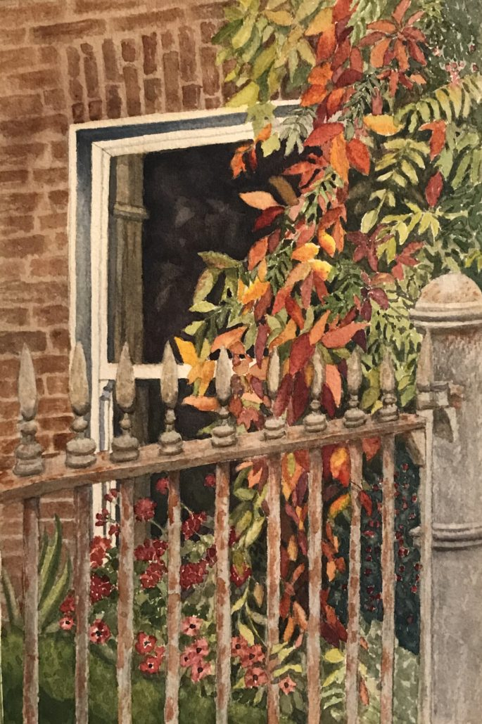 watercolor of autumn leaves and iron gate in Emyvale, Co. Monaghan Ireland