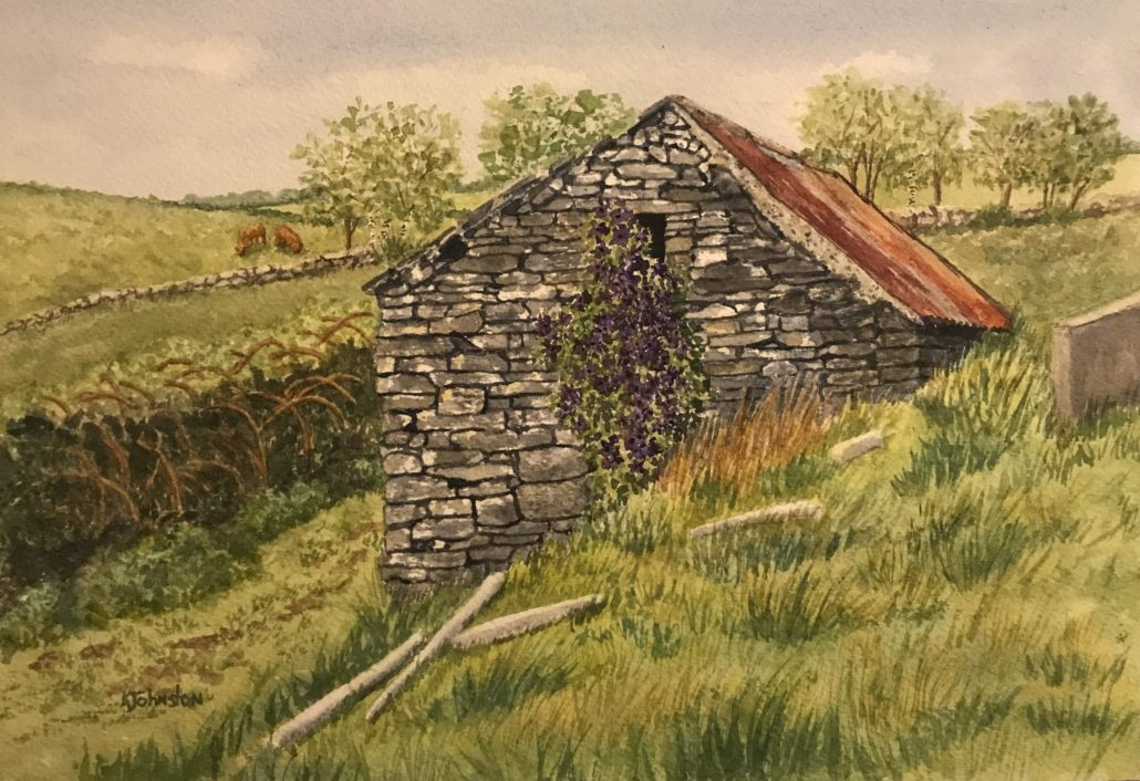 watercolor of Irish stone building with clematis