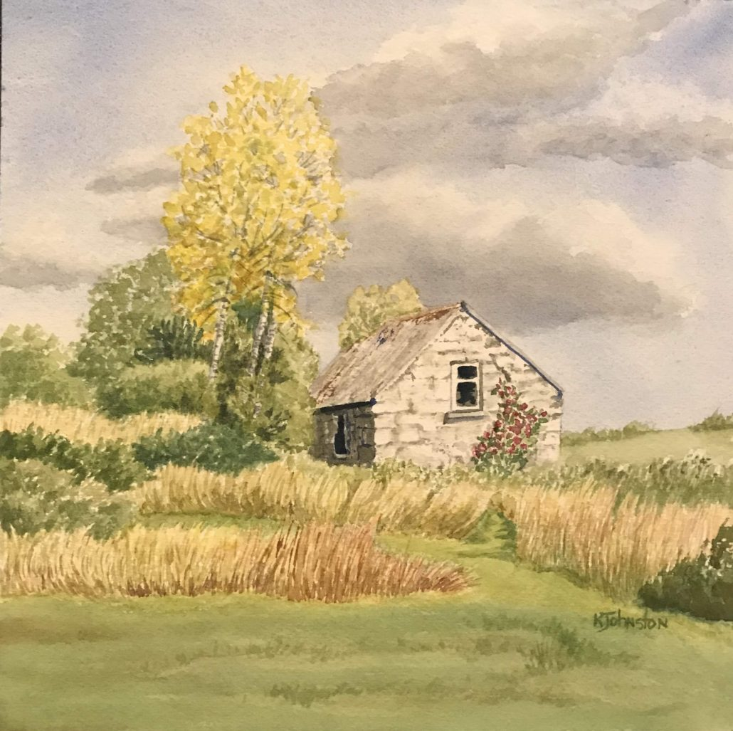 watercolor of white stone building in Irish field