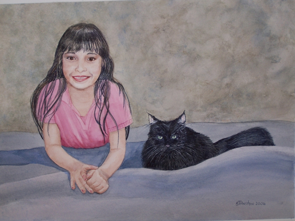 watercolor of a girl and her cat