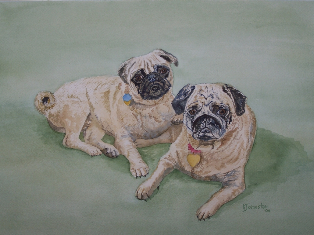 watercolor of two pug dogs