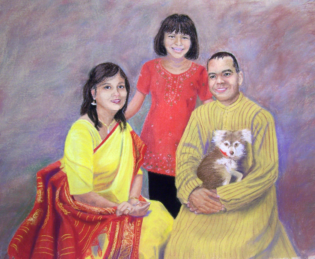 watercolor of family from India with their dog