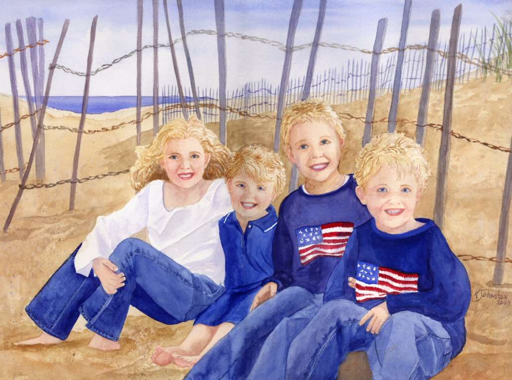 watercolor of 4 siblings at the beach