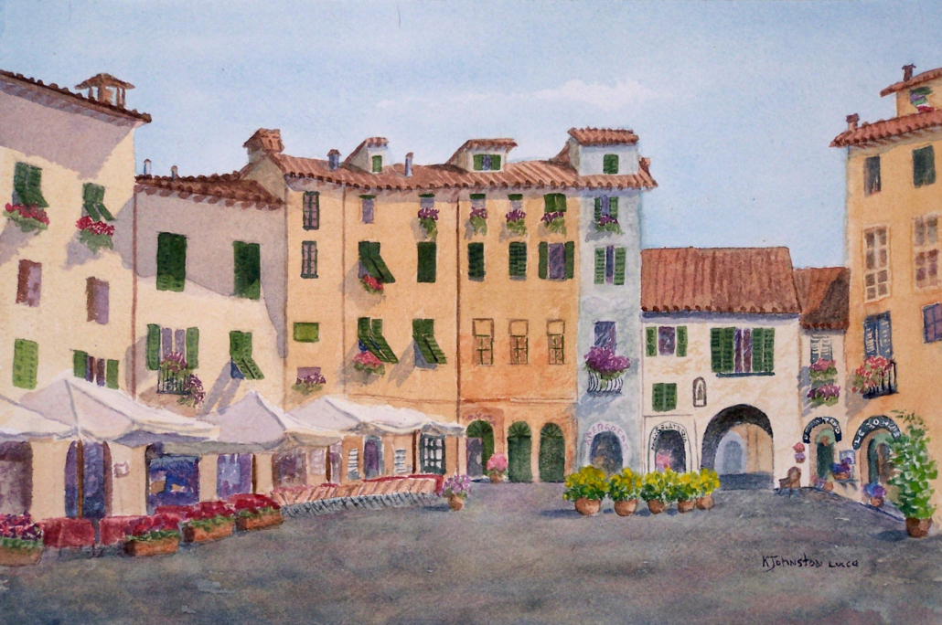 Watercolor of amphitheater in Lucca, Italy