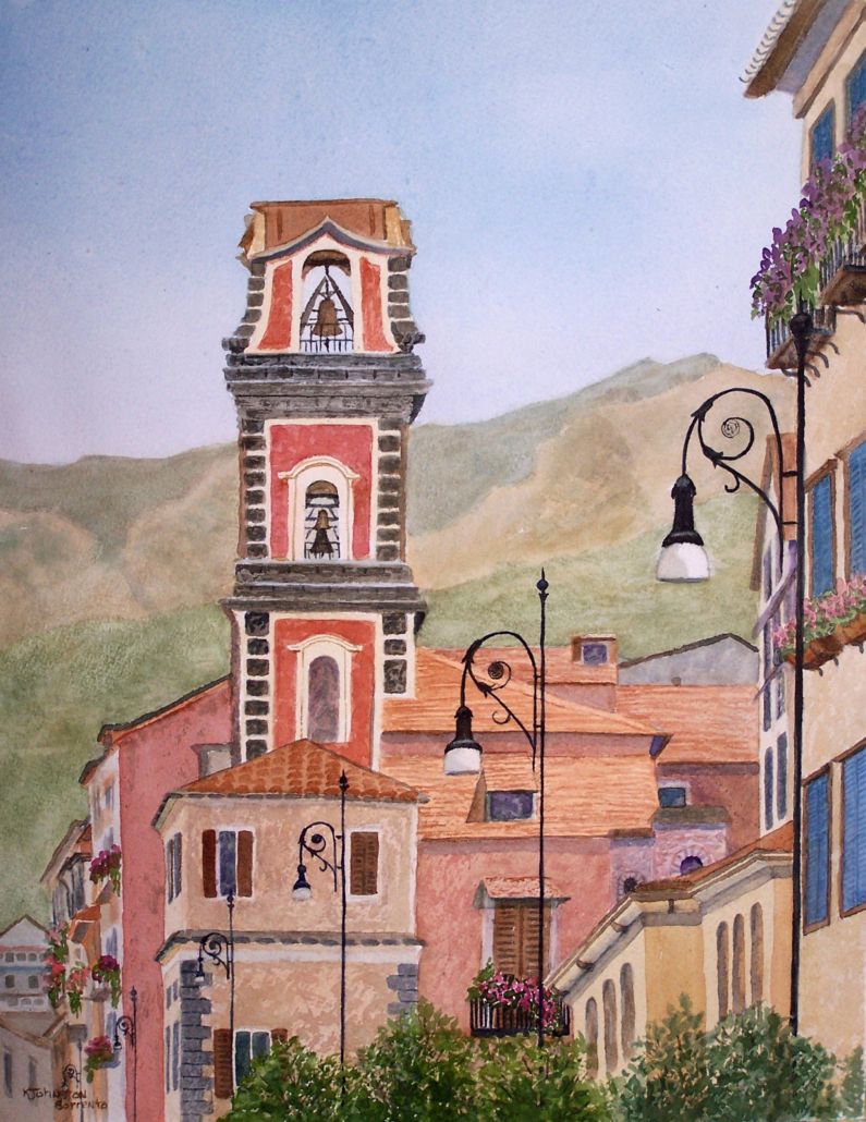 Watercolor of mountains and bell tower in Sorrento, Italy
