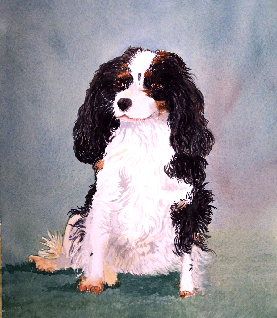 watercolor of Cavalier King Charles spaniel