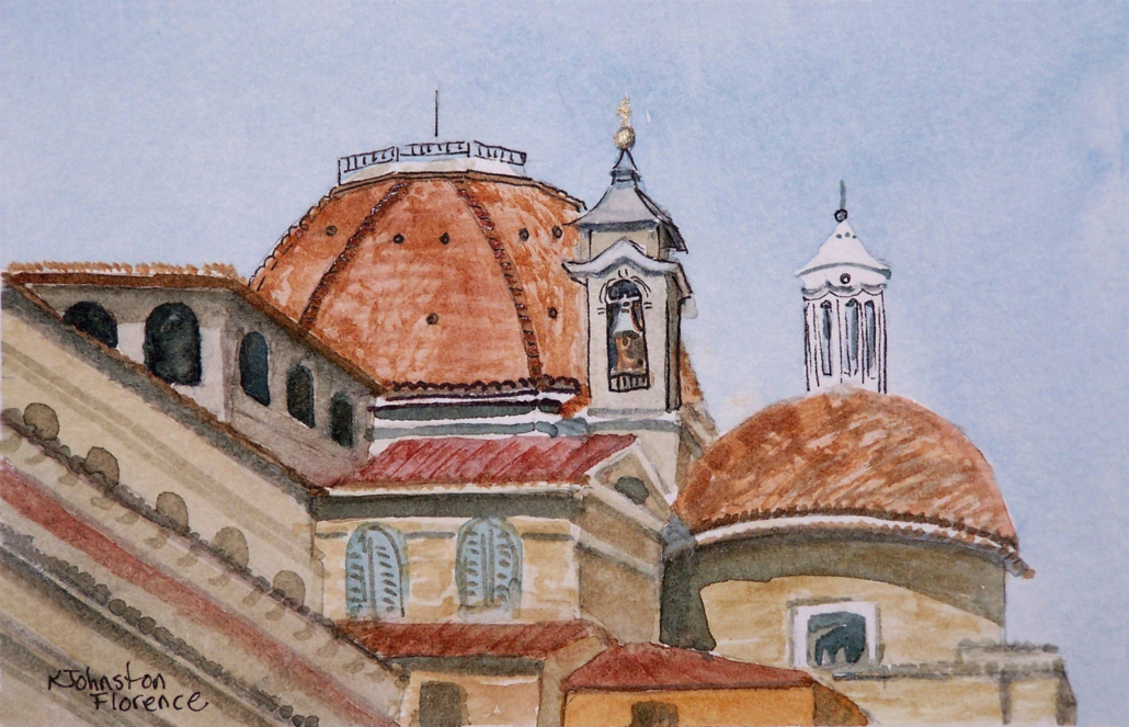 watercolor of church domes in Florence,Italy