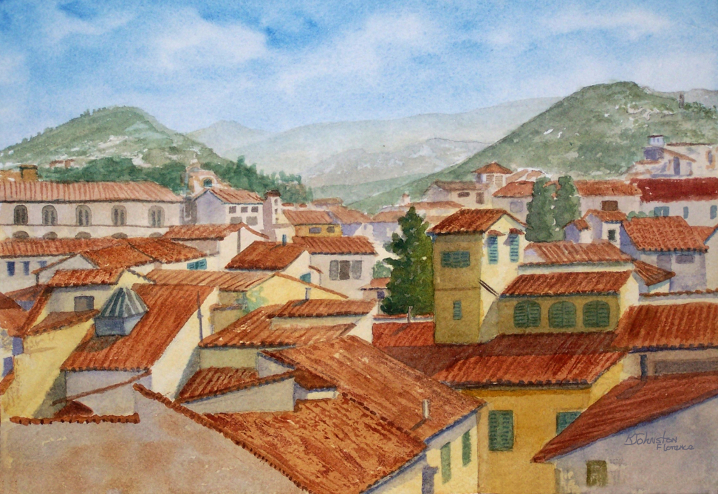 watercolor of rooftop view in Florence, Italy