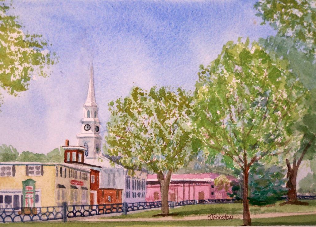 watercolor of Foxboro MA Common