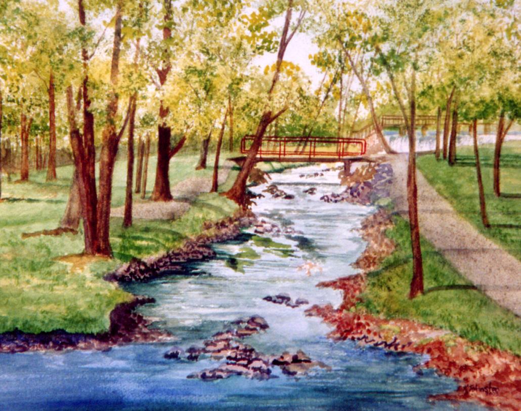 Fulton Stream Mansfield Watercolor