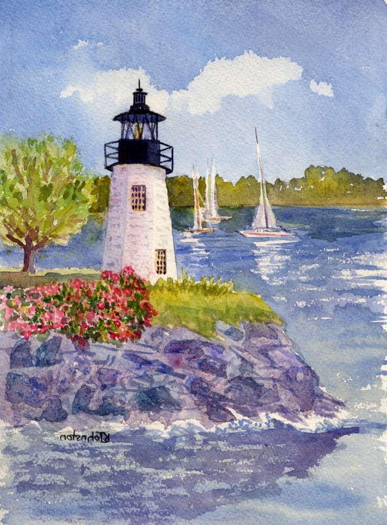 watercolor of Goat Island Lighthouse