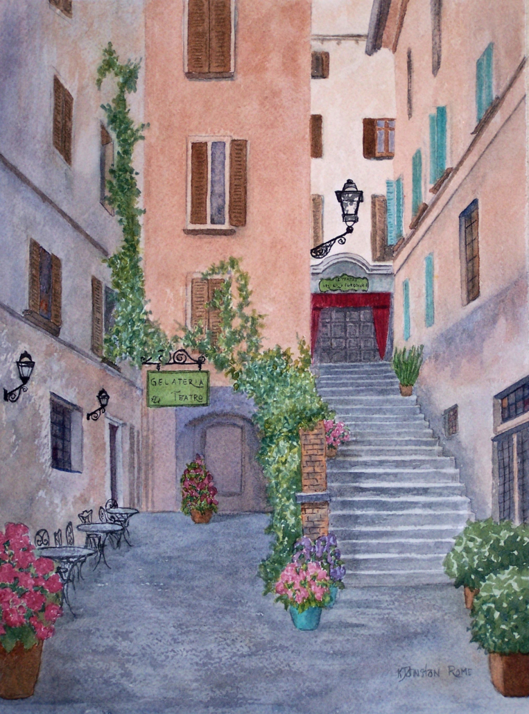 watercolor of flower filled path to a theater in Rome