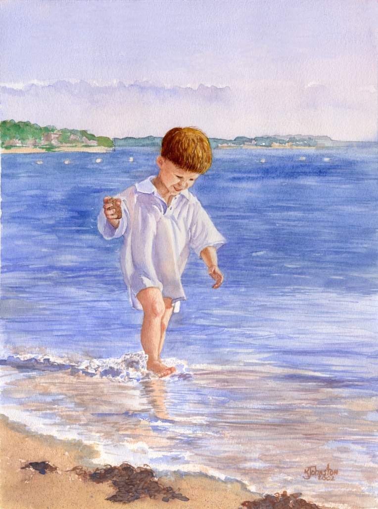 watercolor of little boy at the beach