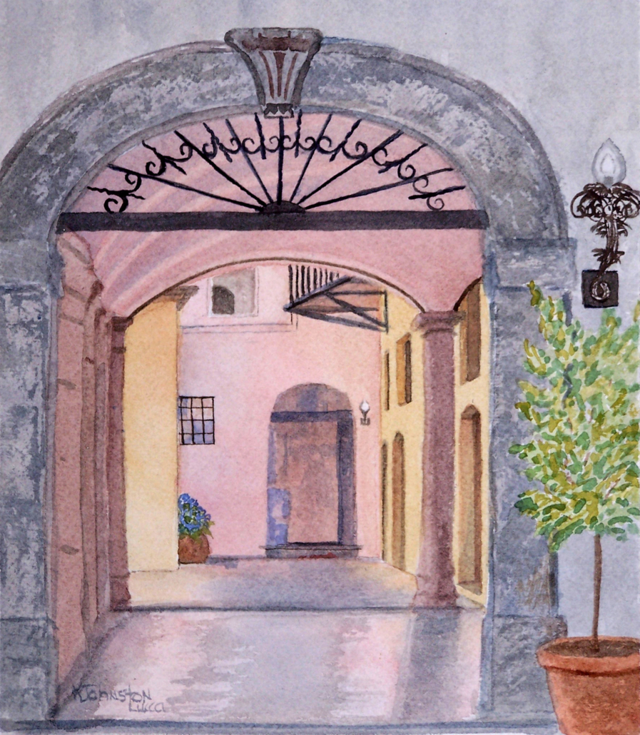 Watercolor of coral and yellowarchways in Lucca, Italy