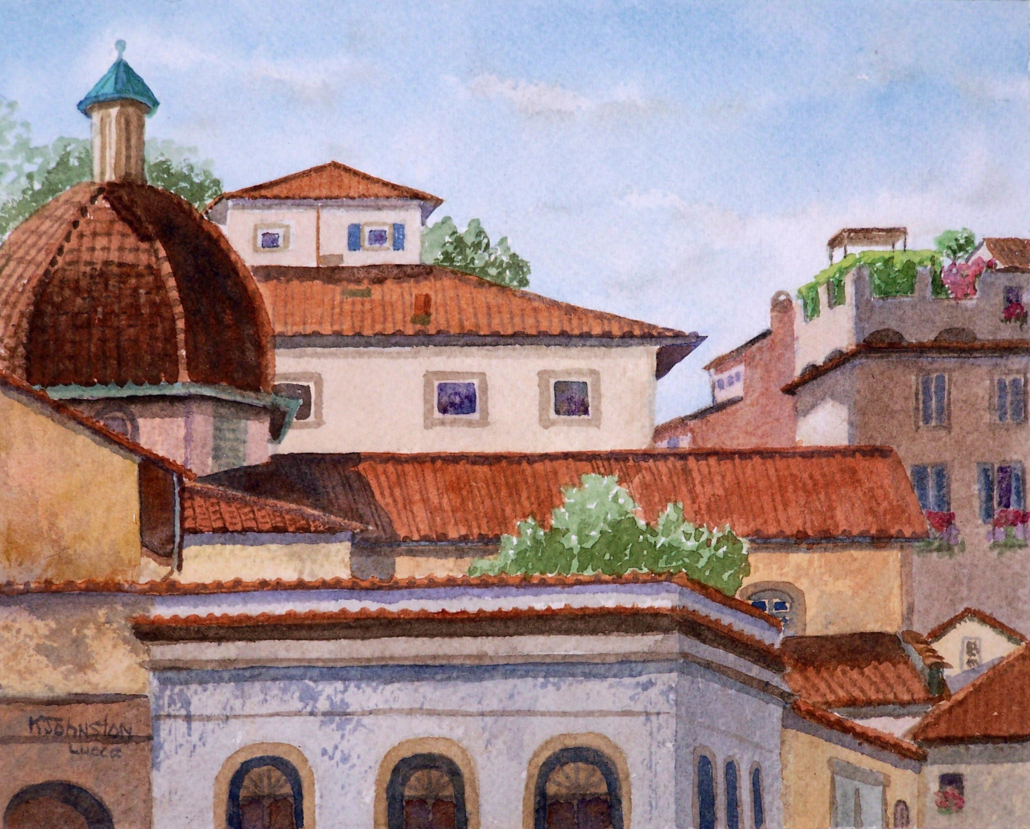 Watercolor of rooftops in Lucca, Italy