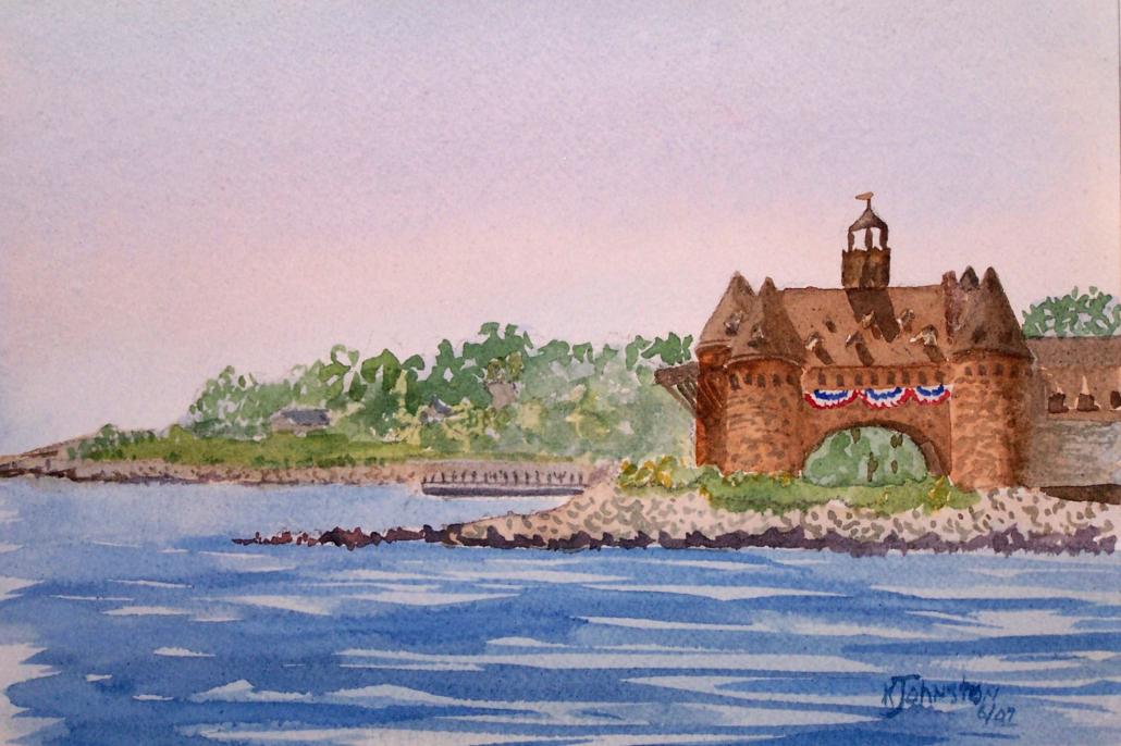watercolor of Narragansett towers
