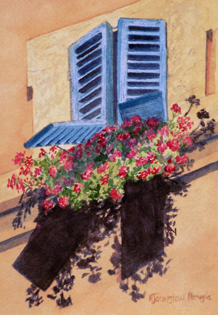 watercolor of terra cotta building in Perugia Italy with blue shutters and red flowers
