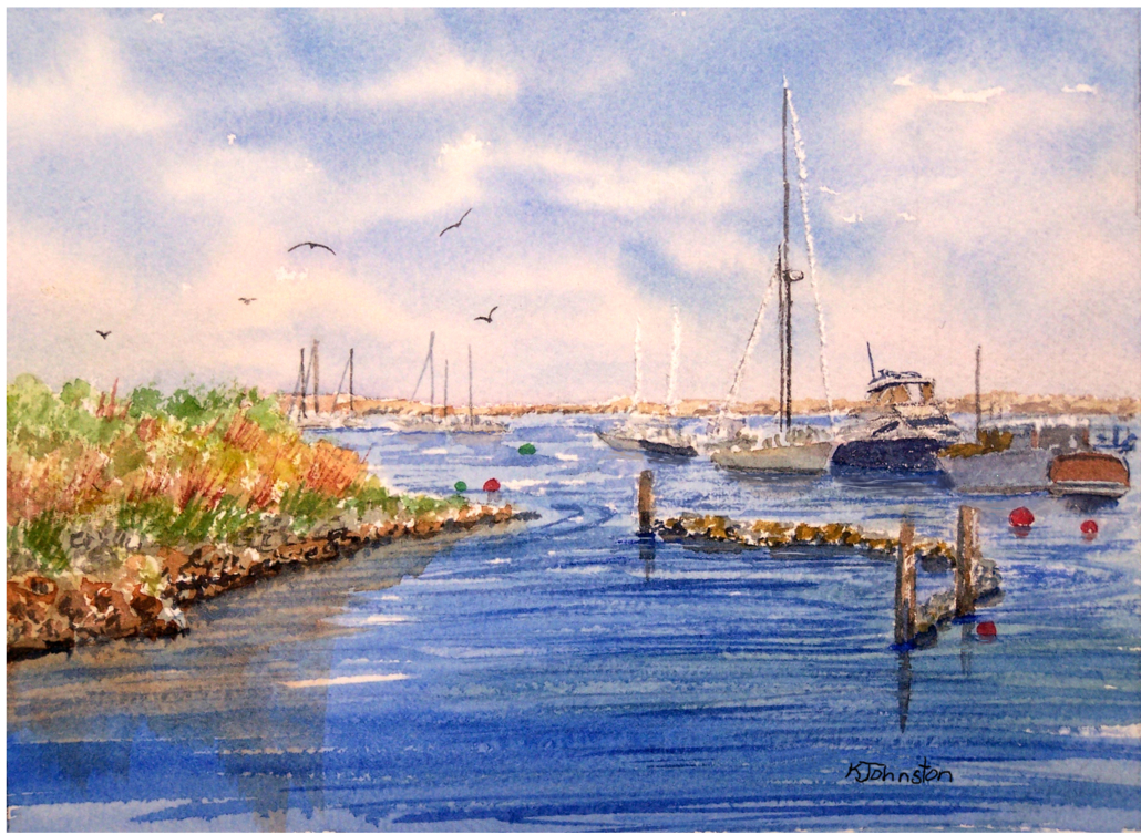 watercolor of Plymouth Harbor