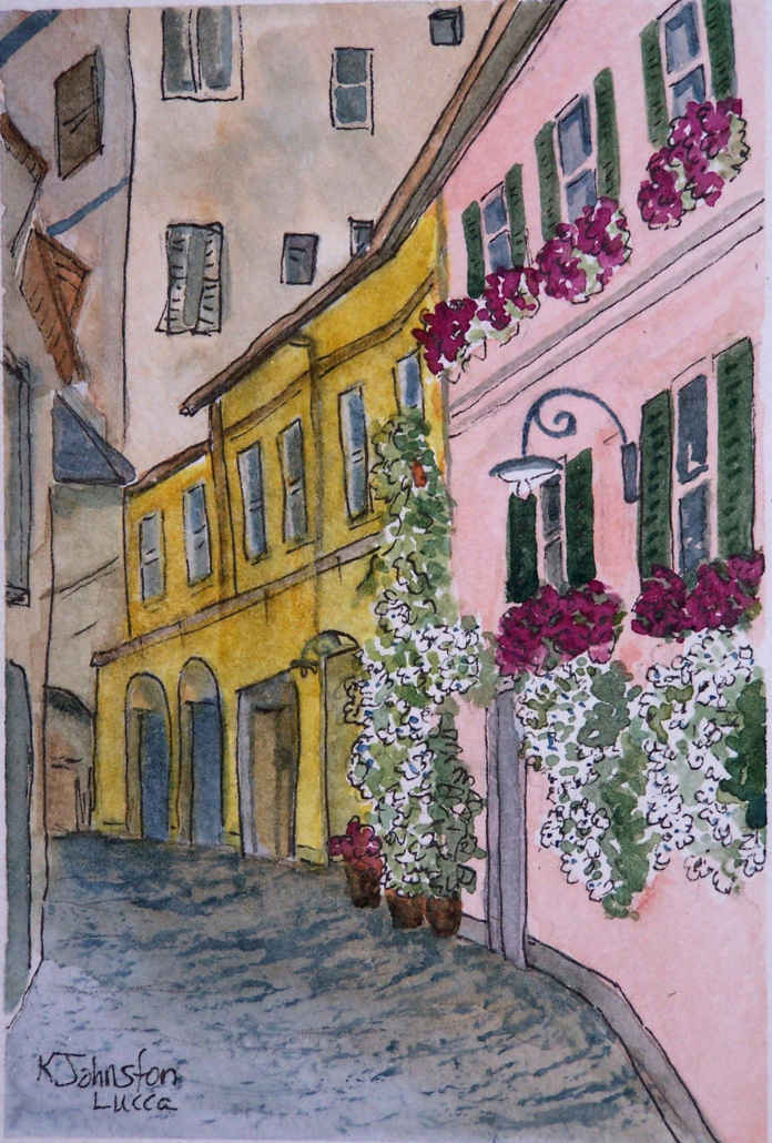 watercolor of colorful cobbled street in Lucca, Italy with cascading flowers