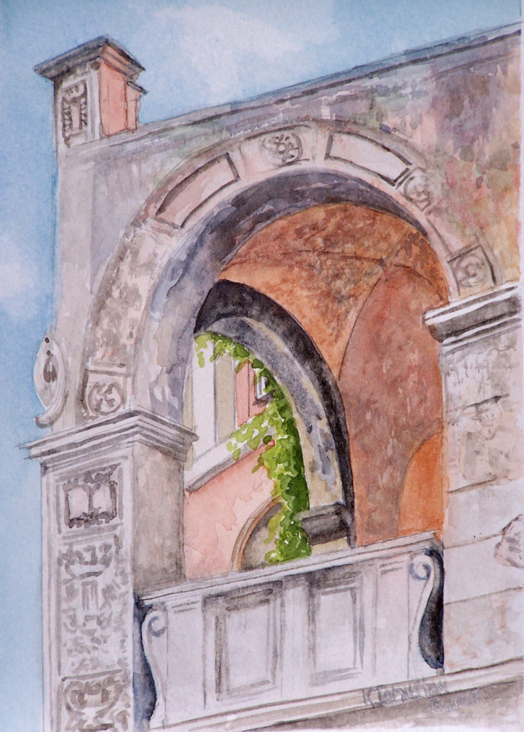 watercolor of archways in Rome