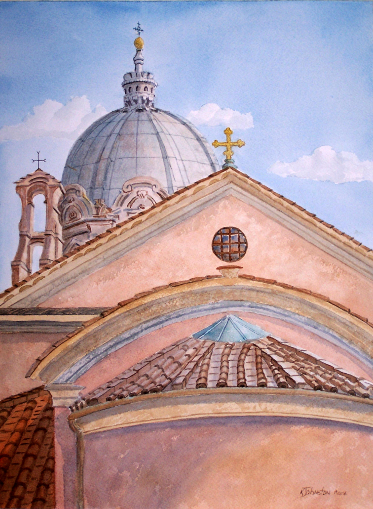 watercolor of roman churches with crosses
