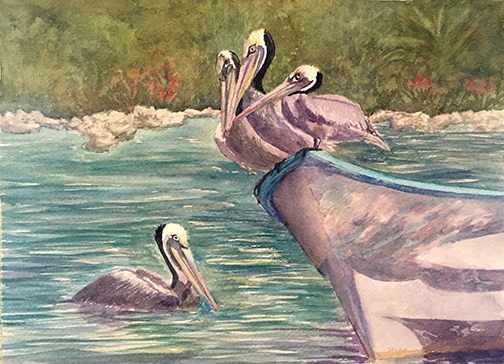 watercolor of pelicans on a skiff in Mexico