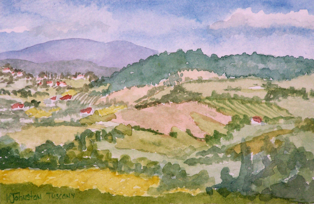 watercolor of the Tuscan hills in Italy