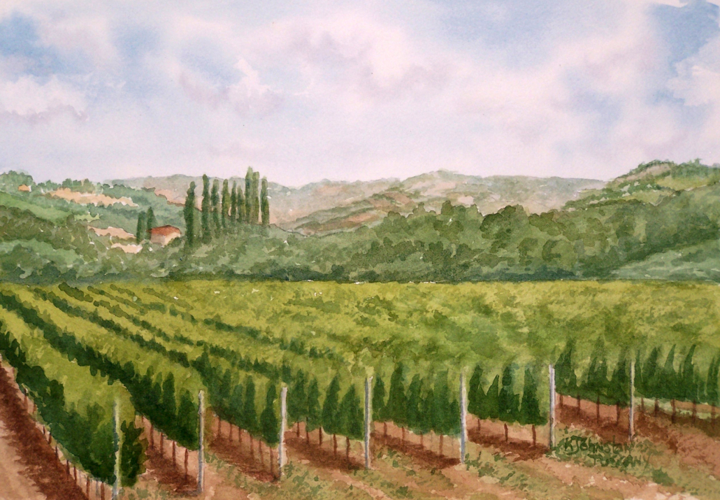 watercolor of a vineyard in Tuscany Italy