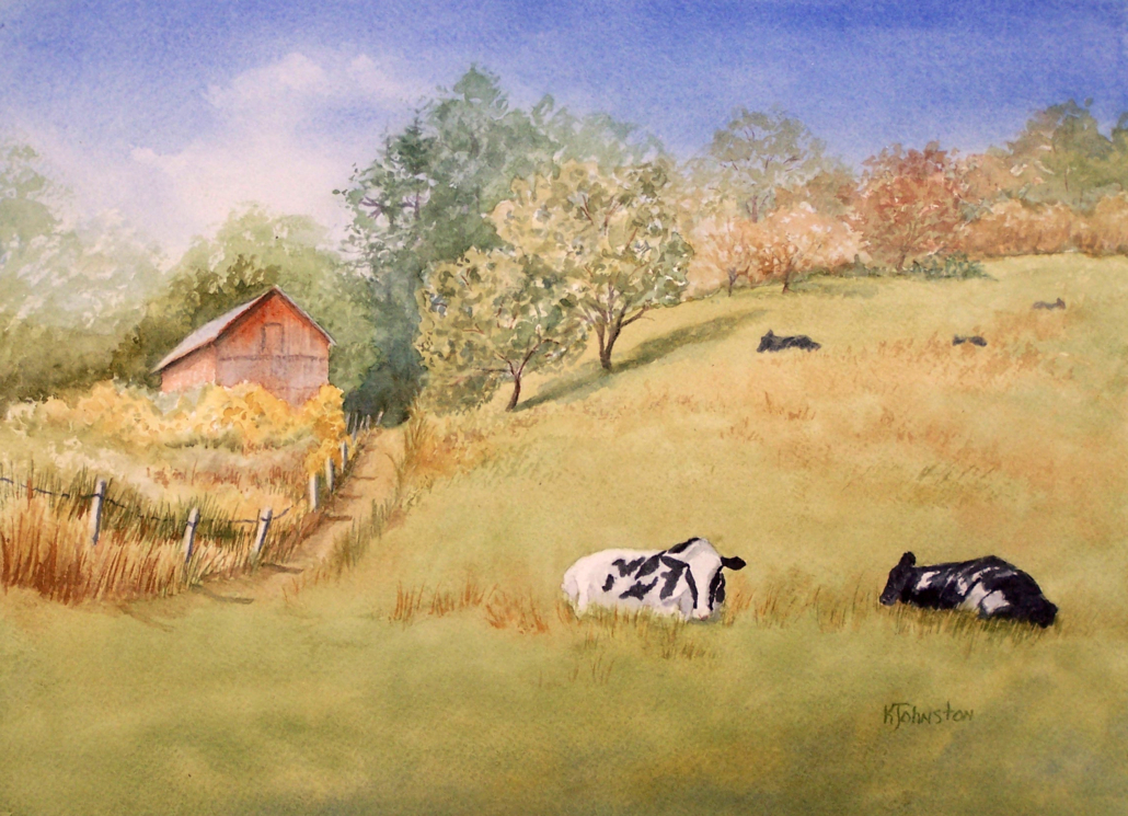watercolor of cows in field with barn