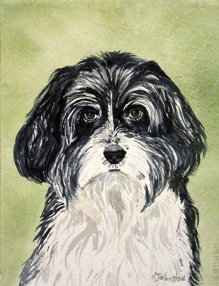 watercolor of dog