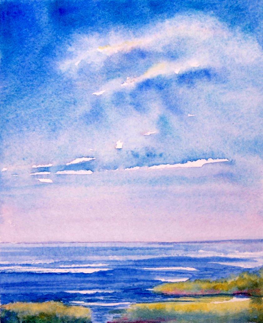 watercolor of ocean and sky